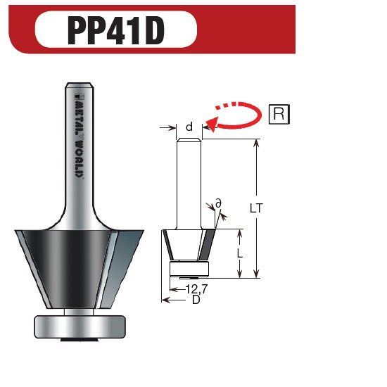 PCD Fasefräser 15° Z2