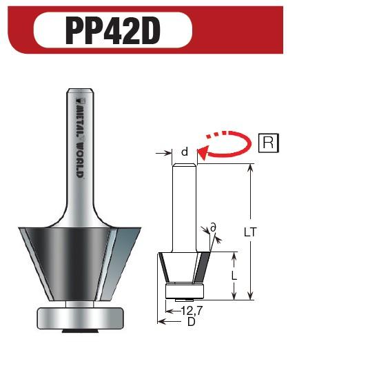 PCD Fasefräser 45° Z2